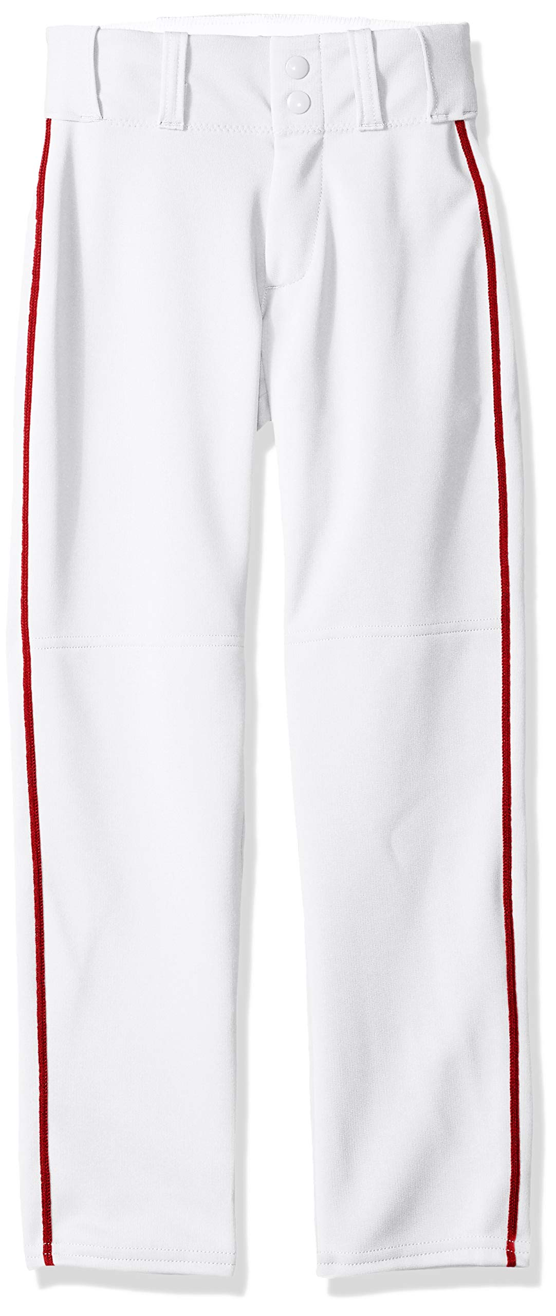 Alleson Ahtletic Boys Youth Baseball Pants with Braid, White/Scarlet, X-Large by Alleson Athletic