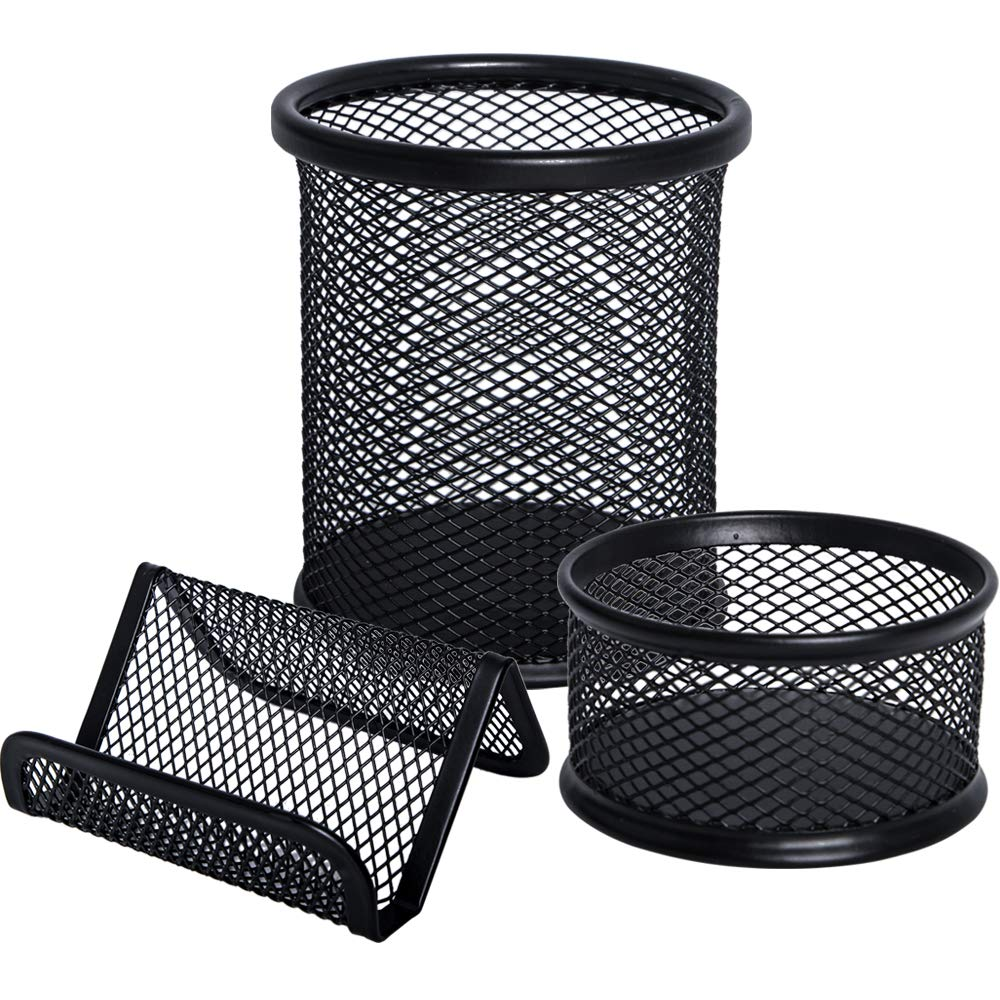 JPSOR 3 Packs Mesh Pencil Pen and Metal Business Card Holder, Black Business Card Pencil Pen Cup Paper Clip Organizer for Desk Office and School