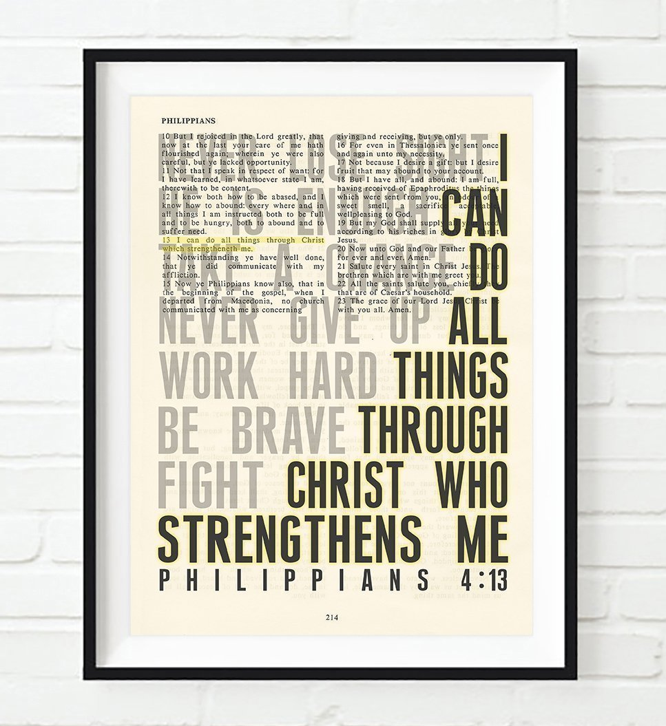 I Can Do All Things Philippians 4:13 Christian UNFRAMED Art PRINT,Vintage Bible verse scripture dictionary wall & home decor poster, Inspirational gift, 8x10 inches