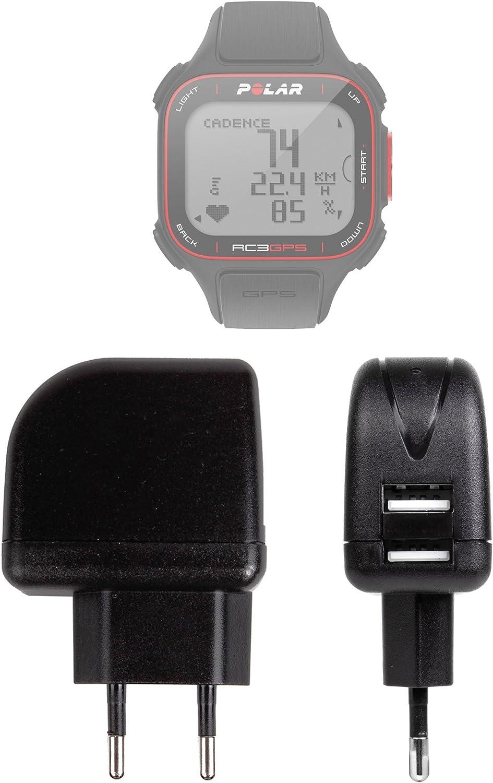 DURAGADGET Cargador Europeo De Viaje para Reloj Polar RC3 GPS Bike - con Doble Puerto USB 2000mA Compatible