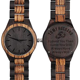 Engraved Wooden Watch Anniversary Gifts For Husband Birthday Men Him Leather Band