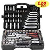 "Socket Ratchet Wrench Set External Torx Screwdriver Bit 120pcs 1/2"" 1/4"" 1/8"" by Toolrock"