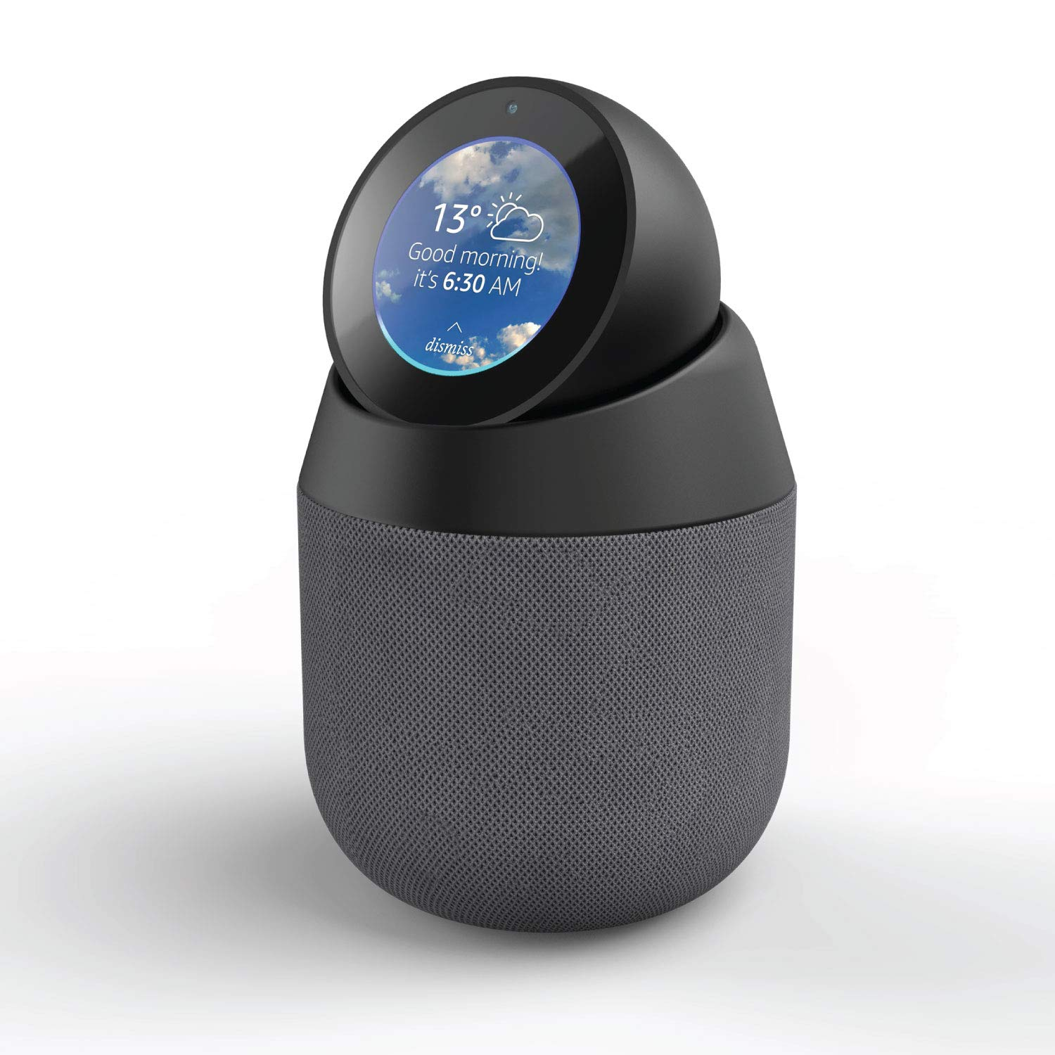 Vault Portable Speaker Dock and Battery Base for Amazon Echo Spot with Removable Pivot Stand by i-box