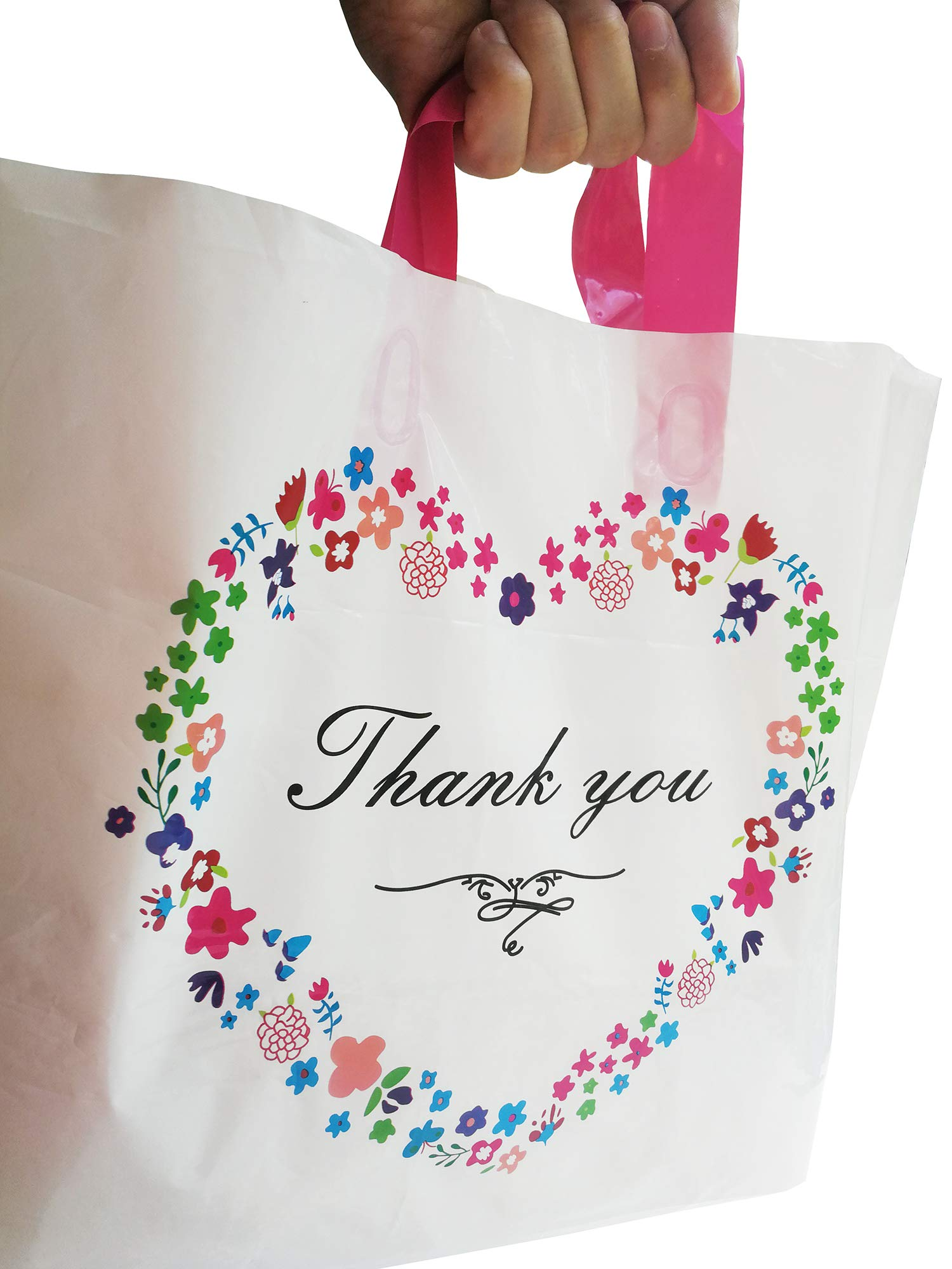 50 Pcs Thank You Merchandise Bags,Plastic Gift Bags, Retail Clothing Boutique Grocery Shopping Bags,Size:14.6''x13.6''x3.1''(37x32x8CM),2.8 Mil