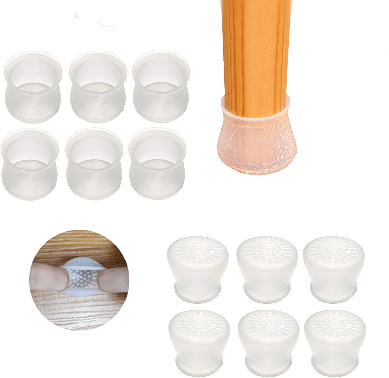 Upgraded 36 PCS Chair Leg caps|Round&Square Chair Leg Floor Protectors|Elastic Silicone Furniture Protection Cover with Anti-Slip Bottom|Prevent Scratches and Noise Without Leaving Traces.