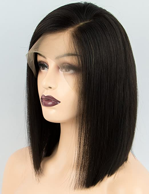 Amazon.com: Persephone Side Part Human Hair Bob Wig for Black Women Silky Straight Brazilian Lace Front Wigs Human Hair with Baby Hair 130 Density Natural ...
