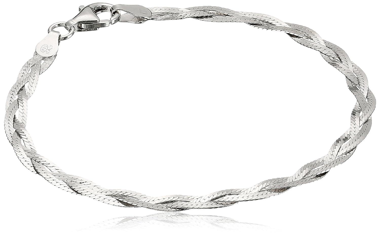 Italian Sterling Silver Three-Strand Braided Herringbone Chain Bracelet, 7.5 7.5 Amazon Collection TR42-7.5