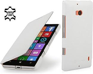 StilGut Book Type Case, custodia in vera pelle versione booklet per Nokia Lumia 930, bianco