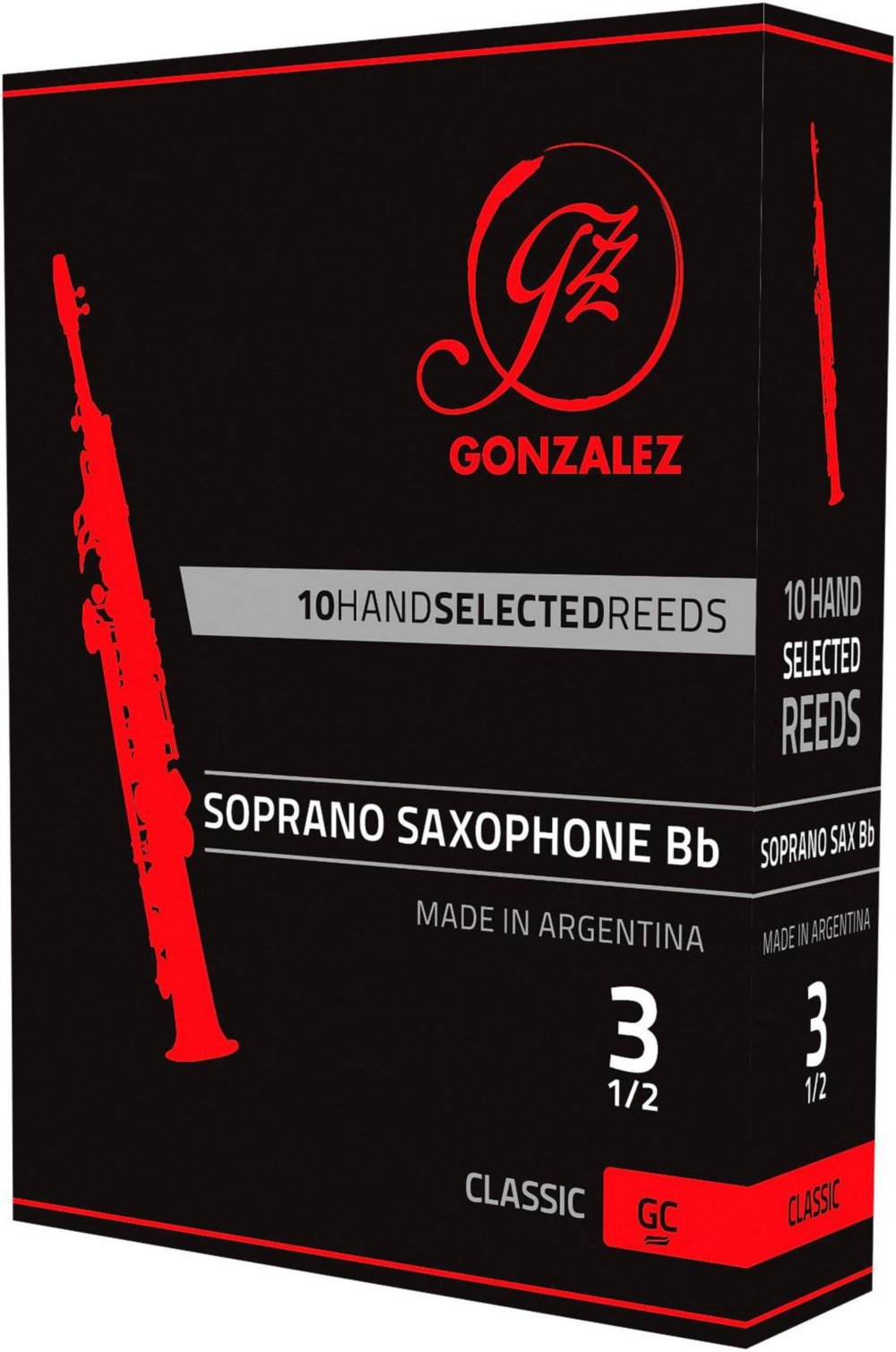Gonzalez Classic Soprano Saxophone Reeds Box of 10 Strength 3