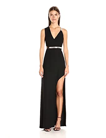 715713cd9cbc6 Halston Heritage Women s Sleeveless V Neck Gown with Multi Chain Strap