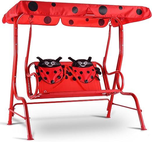 vengaconmigo - Balancín de jardín de 2 plazas para niños al Aire Libre, Columpio de jardín con cinturón de Seguridad y Techo Impermeable para balcón y terraza, Color Azul/Rojo, Rojo: Amazon.es: Jardín