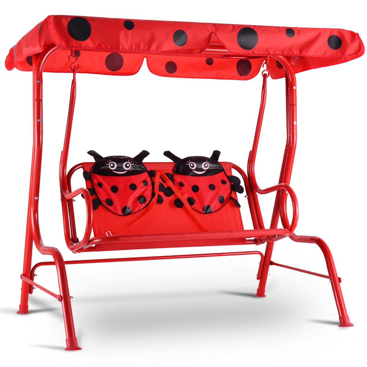 Costway Kids Swing Chair Metal Canopy Bench Rocking Seat Ladybug 2 Seats Hammock Red Patio Yard Garden Outdoor