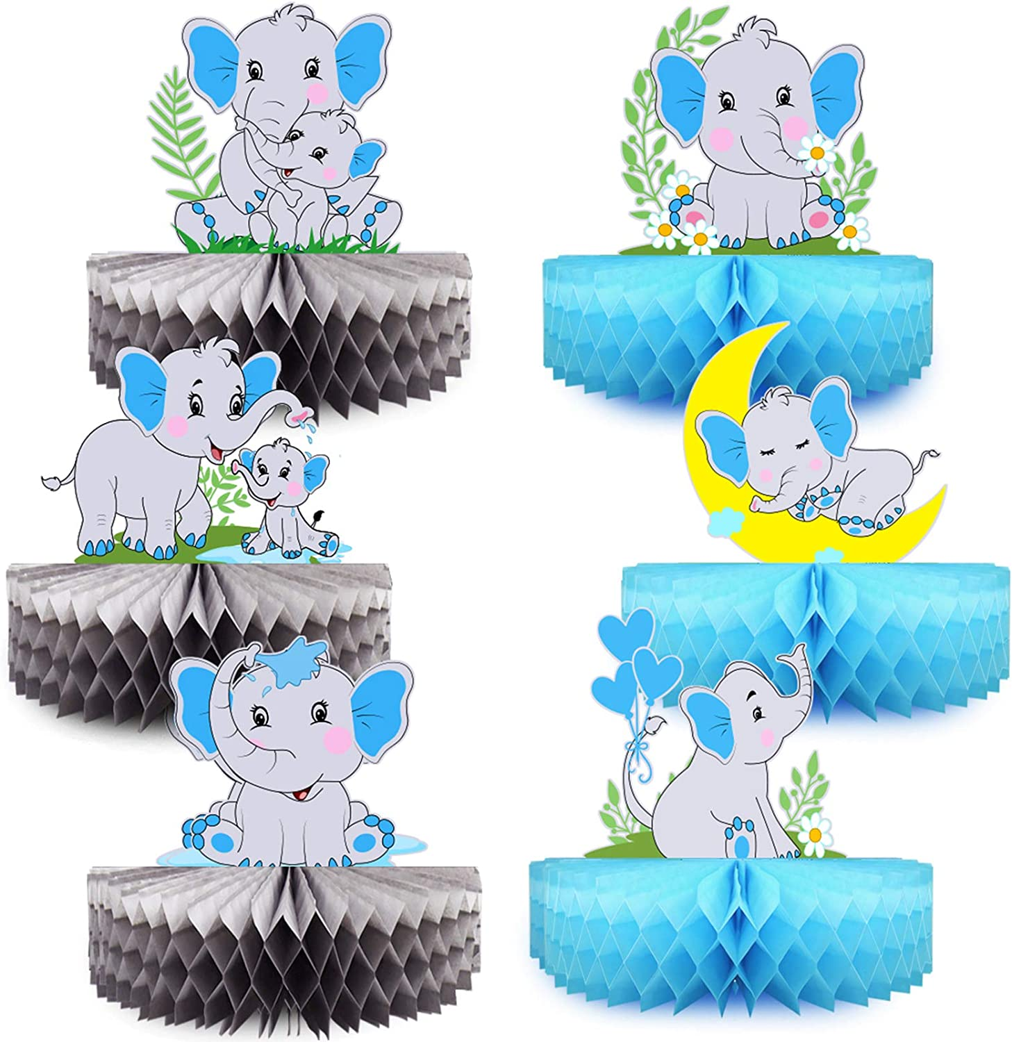 Mity rain 6 Pack Blue Elephant Honeycomb Centerpieces - Double-Sided Baby Boy Elephant Table Decorations Little Peanut Cutouts for It's A Boy Baby Shower Kids Birthday Party Supplies