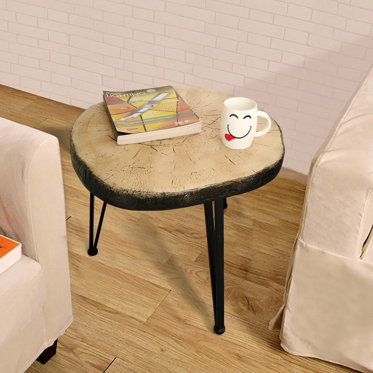 Suneon End Tables, Imitation Wood(Magnesium Oxide) Coffee Side Table for Living Room,Bedroom,Balcony,Garden and Office by SUNEON (Image #3)
