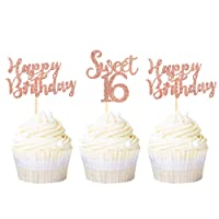 Ercadio 24 Pack Sweet 16 Cupcake Toppers Rose Gold Glitter Sixteen Happy Birthday Cupcake Picks 16th Birthday Anniversary Party Cake Decorations