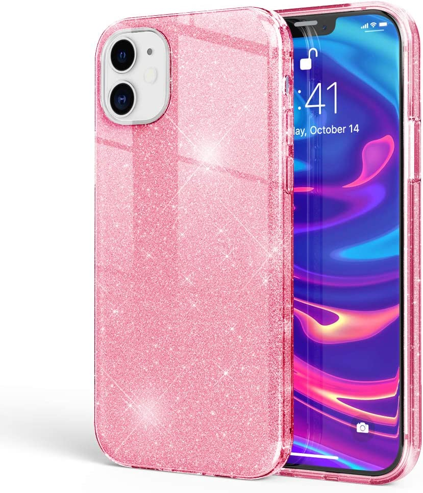 NALIA Glitter Cover Compatible with iPhone 12 / iPhone 12 Pro Case, Sparkly Bling Silicone Skin Mobile Phone Protector Shockproof Back, Shock-Absorbent Protective Diamond Bumper, Color:Pink