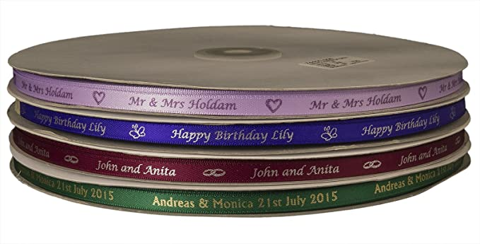 Personalised Printed Ribbon Double Satin 7mm Wedding Anniversary Favour Box Xmas