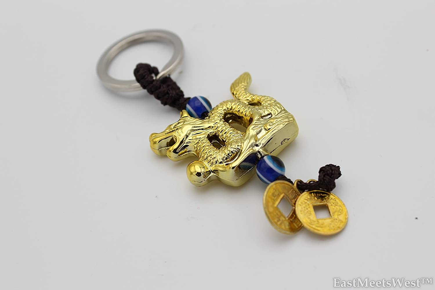 LuckyGifts Gold Coins Dragon of Success n Power Keychain Hanging Charm Feng Shui Protection