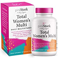 Pink Stork Total Women's Multi: Women's Multivitamin with Folate + Zinc + Vitamin A + Vitamin C + Vitamin D + Vitamin E + Biotin, Essential Nutrients for Women, Women-Owned, 60 Capsules