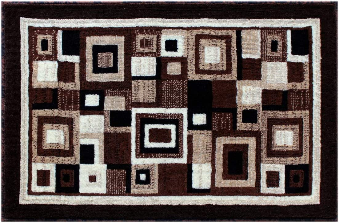 Modern Rug Door Mat 2 Feet X 3 Feet Brown Design 125