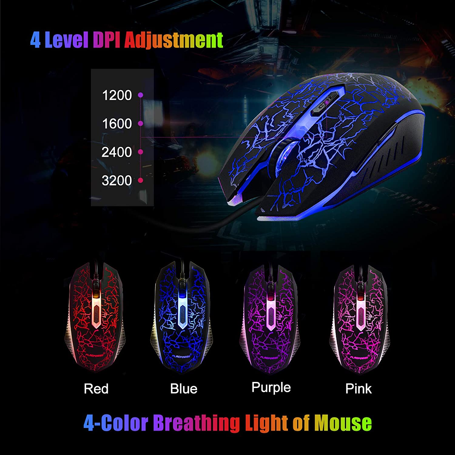 FLAGPOWER Gaming Keyboard and Mouse Combo, Rainbow Backlit Mechanical Feeling Keyboard with 4 Colors Breathing LED Backlight Mouse for PC Laptop Computer Game and Work: Computers & Accessories