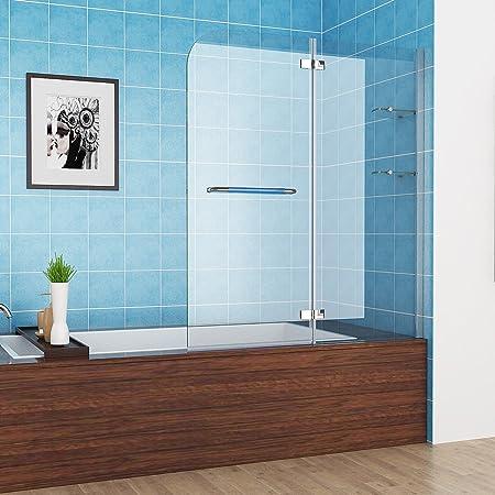 Mampara/cristalera para bañera o ducha (2 piezas, plegable 180º, cristal NANO, con toallero, personalizable), 120 cm: Amazon.es: Hogar