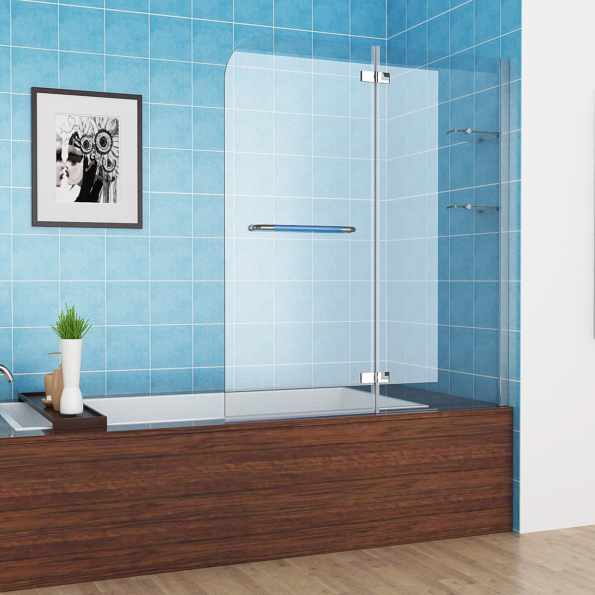 100-120 x 140 cm Badewannen 2 tlg. Faltwand Aufsatz 180° Duschwand Duschabtrennung NANO Glas mit Handtuchhalter (110cm) MIQU