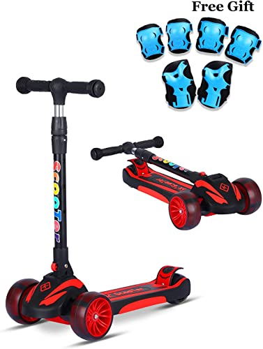 SDSPEED Kick Scooter for Kids Extra Wide Light-Up Wheels Safety First Scooter 3 Height Adjustable Wide Deck Best Gifts Kids, Boys Girls