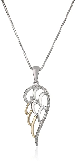 790f959ba Amazon.com: Sterling Silver and 14k Yellow Gold Diamond Accent Angel Wing  Pendant Necklace (.09 cttw): Religious Necklaces For Women: Jewelry