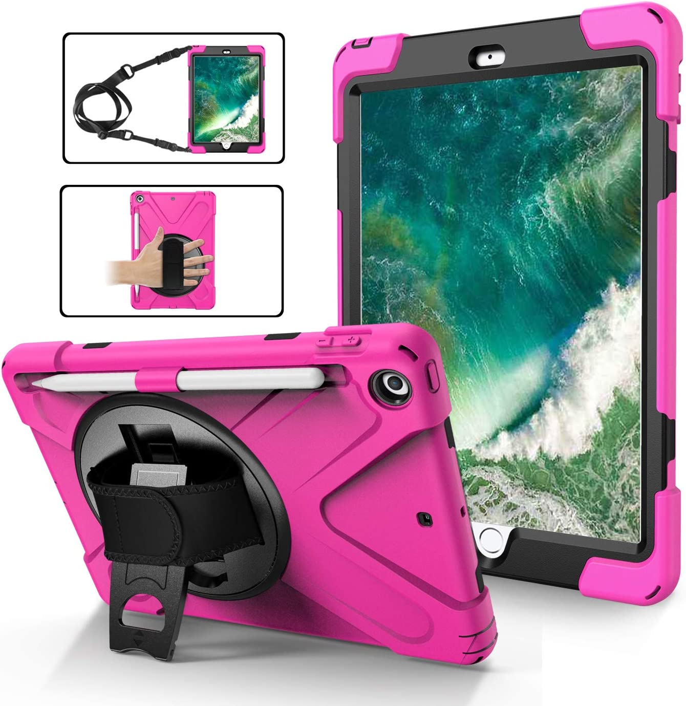 iPad Case 9.7 Inch for Kids 2018/2017 | TSQ 6th Generation iPad Case Heavy Duty Drop Protection PC Case with Rotating Kickstand/Hand Strap+Shoulder Strap+Pen Holder for iPad 5th Generation | Rose Red