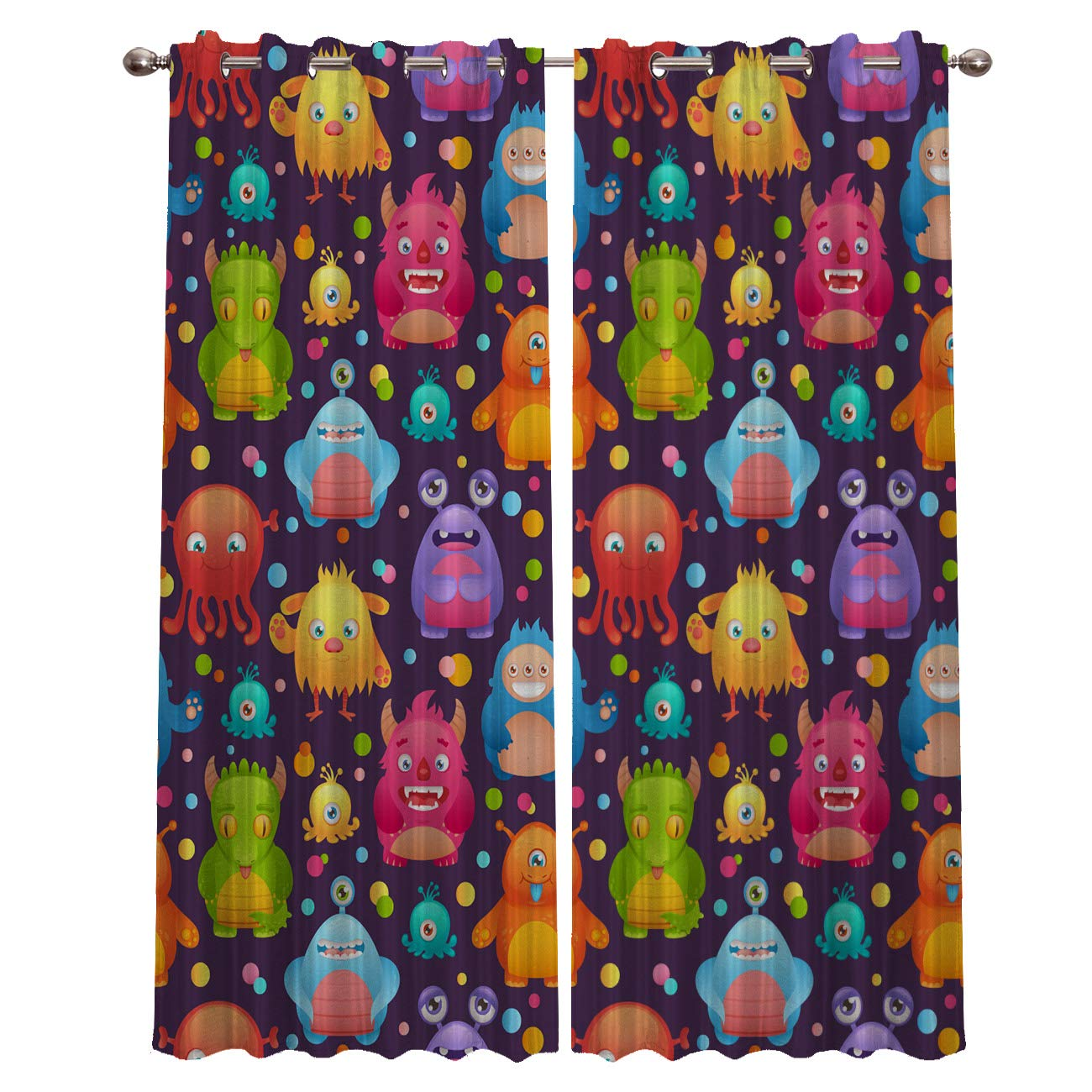 OUR WINGS Curtain Darkening Blackout Grommet Thermal Insulated Room Printed Cartoon Colorful Cute Little Monster Patterns Teens and Kids Bedroom Curtains, Set of 2 Curtain Panels 40''x63'' by OUR WINGS