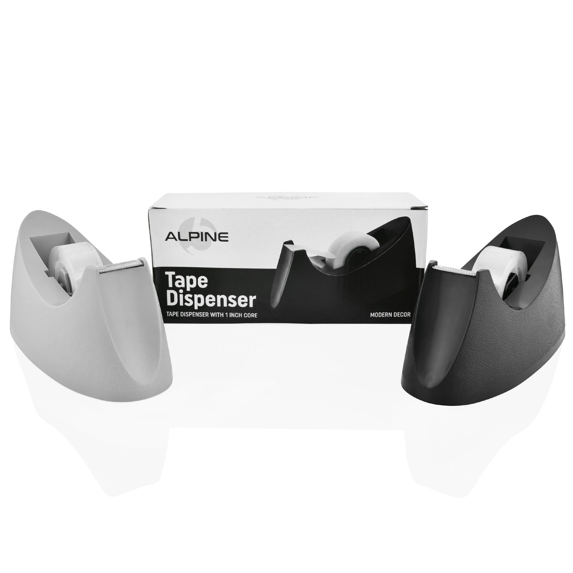 Desktop Tape Dispenser 2-Pack Classic Heavy Duty with 1 Inch Core. Tape Included. Takes Any 3/4 Inch Tape Including Scotch Invisible. Non-Skid Base, Rugged Durability, Sharper Long Lasting Blade