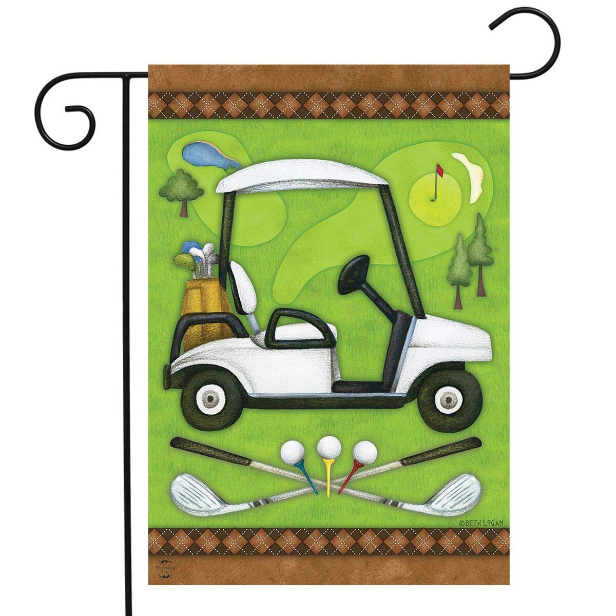 "Briarwood Lane Golf Spring Garden Flag Cart Clubs Sports 12.5"" x 18"""