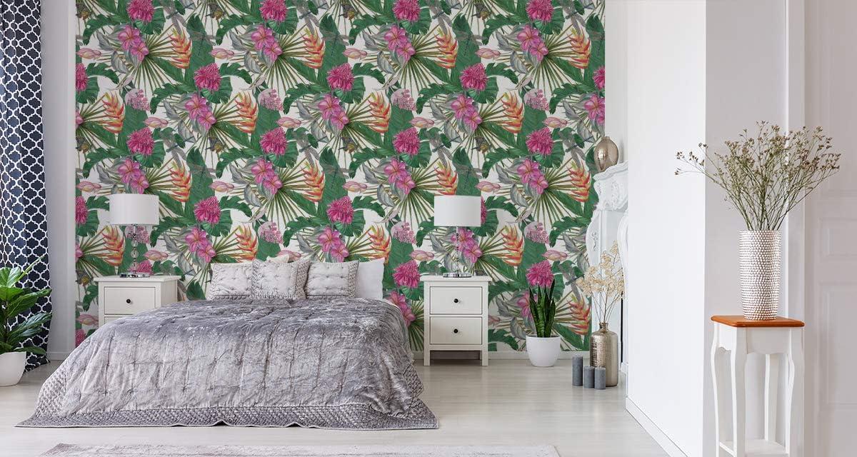 Muralo Papier Peint Fleurs Exotiques Feuilles Magnifiques Vinyle Tropicales Verdure Motif 558632458