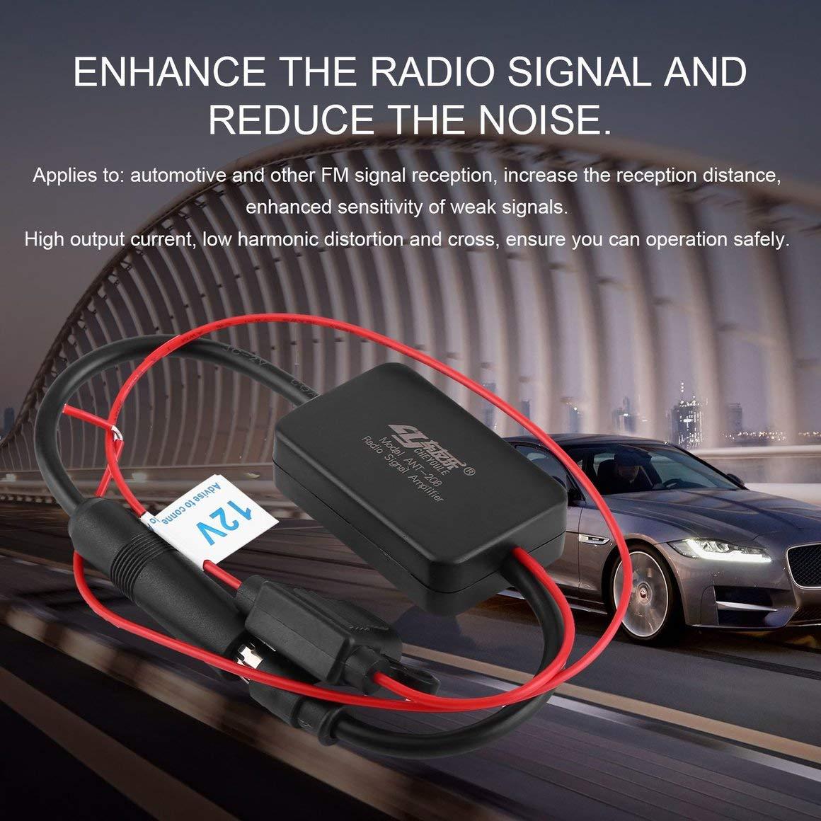 Funnyrunstore 12V Autom/óvil Amplificador de Se/ñal de Radio de Autom/óvil ANT-208 Veh/ículos Autom/óviles Aumento de Antena de FM para Mejorar Se/ñales Negro
