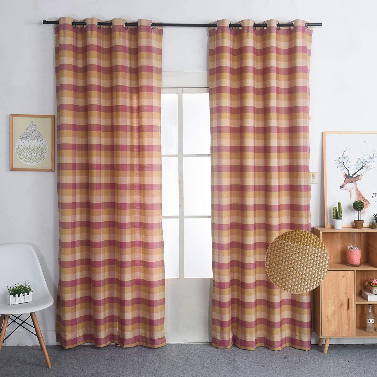 Nauxcen 100 Cotton Plaid Curtains 52 X 96 Inch 2 Panels Rust Pink Grommet Curtains for Bedroom Living Room