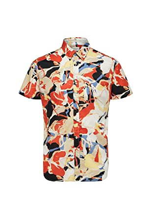 Selected - Camisa Estampada, Color Naranja Orangeade Flower M ...