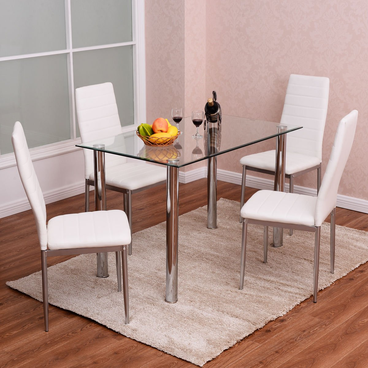 Amazon.com: Tangkula 5 PCS Dining Table Set Glass Table and Metal ...