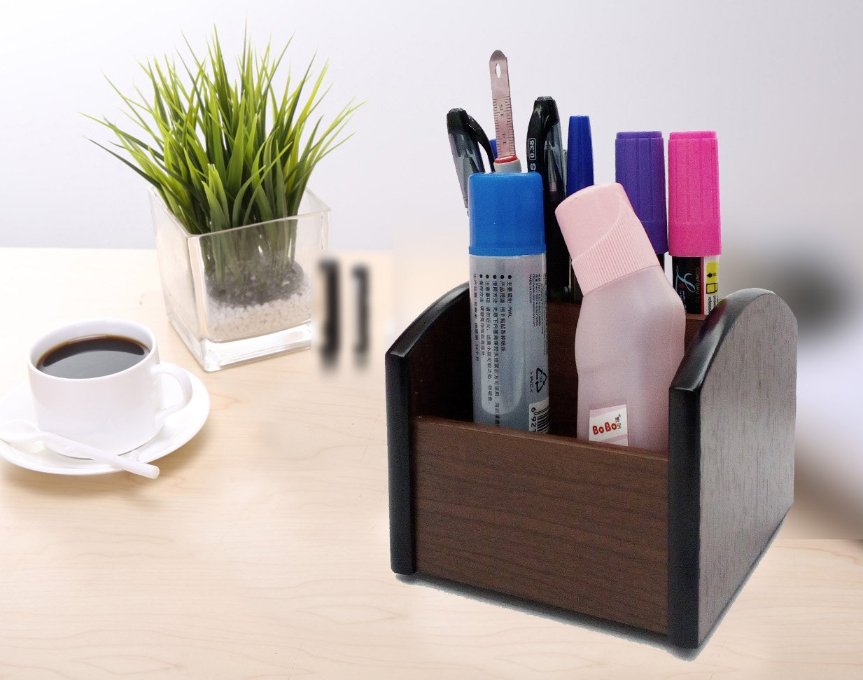 YCL Wooden pen holder and business card holder combination,Rotating office desk storage Organizer,card holders wood@YCL816R