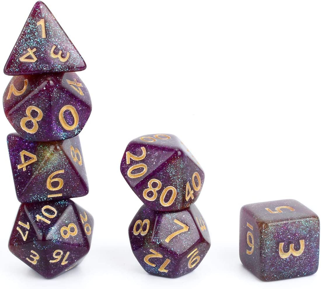 FLASHOWL Tri-Colors Starry Sky Dices Set Table Game DND Dice Sset for Role Playing Game Polyhedral Game Dice Set 7 Pieces, Light Blue/&Orange/&Pink
