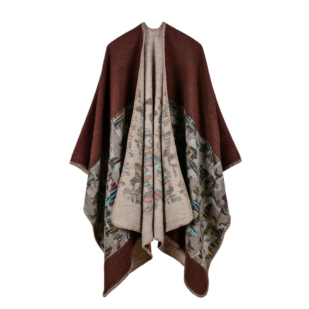Bakerdani Womens Winter Wrap Blanket Poncho Cape Shawl Cardigans Sweater Coat,Coffee,One size:130*150cm