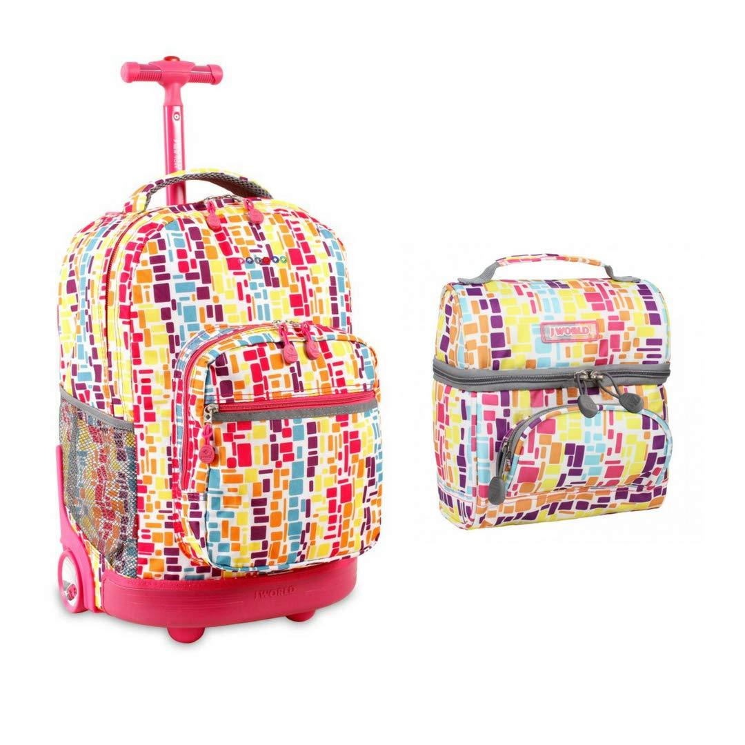 J World New York Sunrise Rolling Backpack & Corey Lunch bag Set (Sunrise w/Corey, Squares Neon)