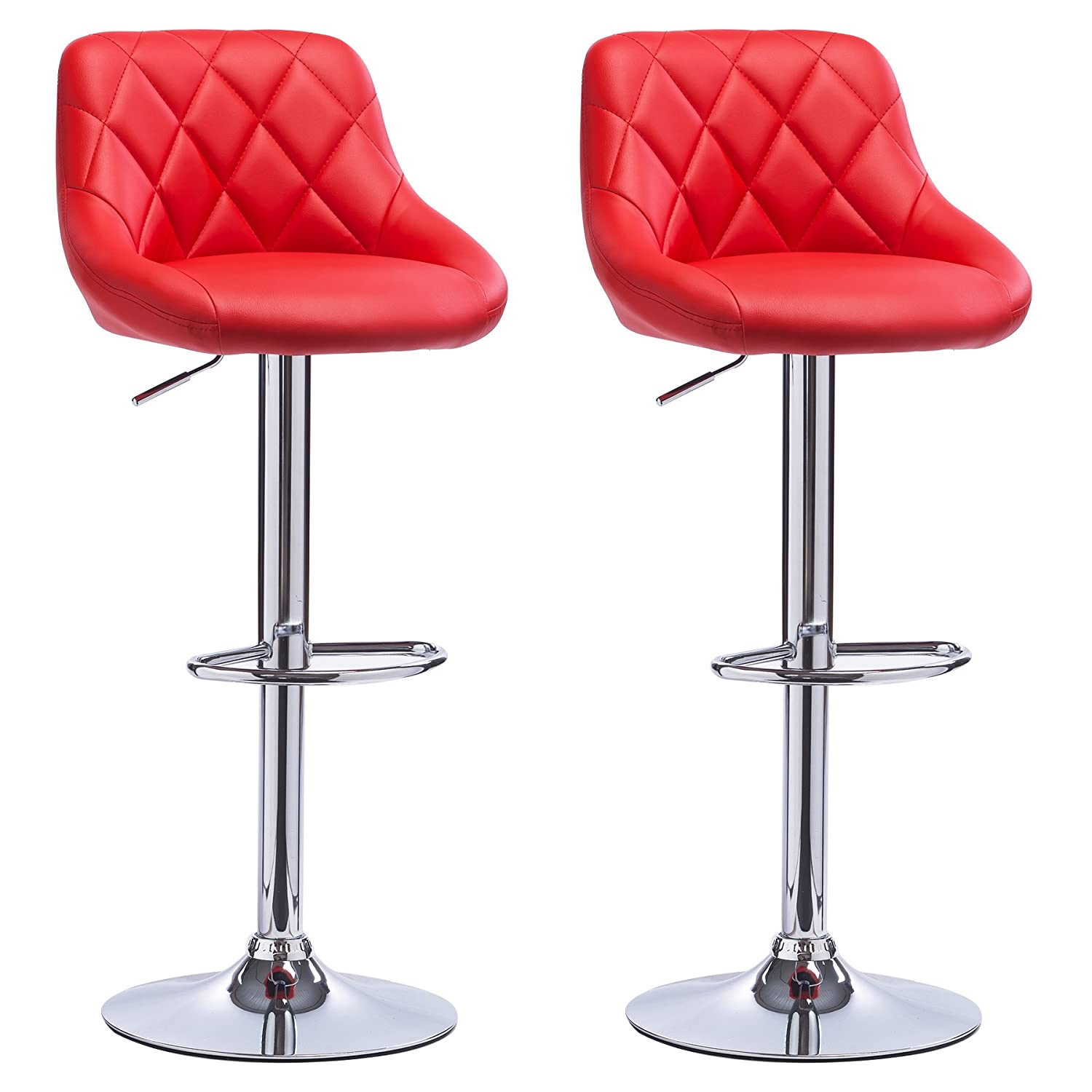 Woltu Bar Stools Red Bar Chairs Breakfast Dining Stools For Kitchen
