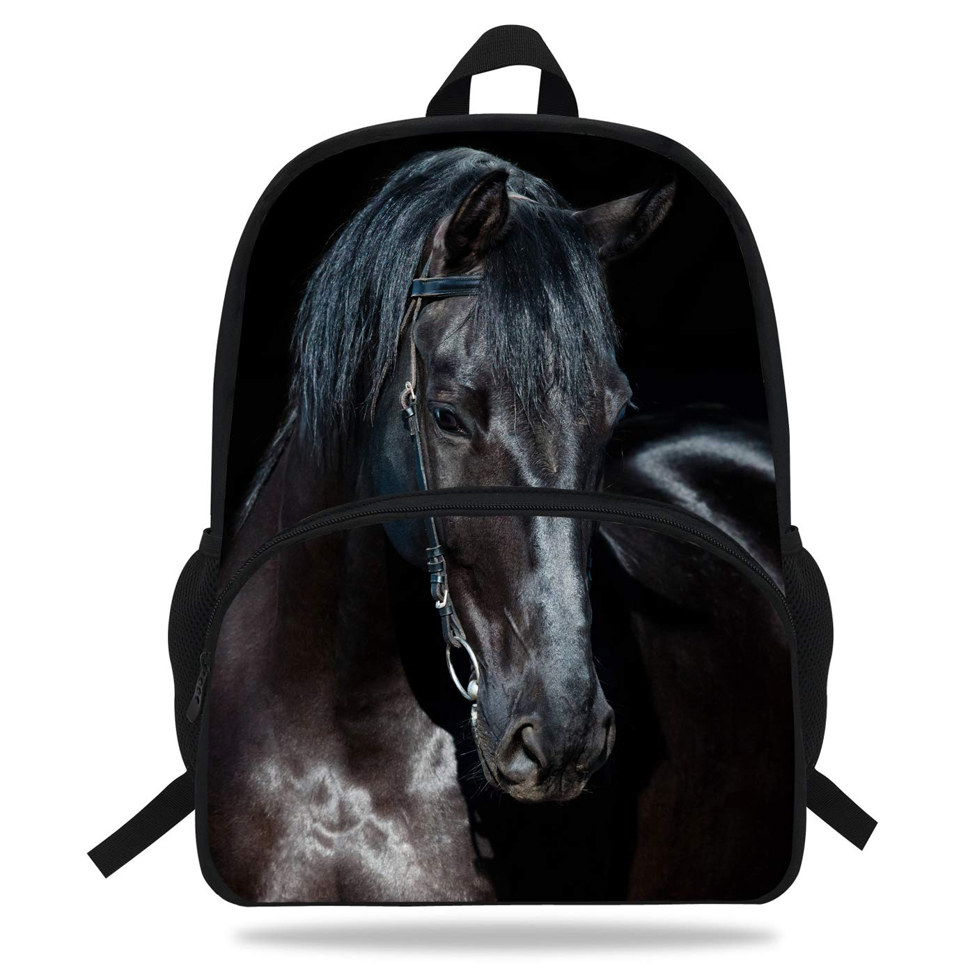 VEEWOW 16-Inch Popular Boys Girls Print Bag Horse Backpack For Kids School D1085