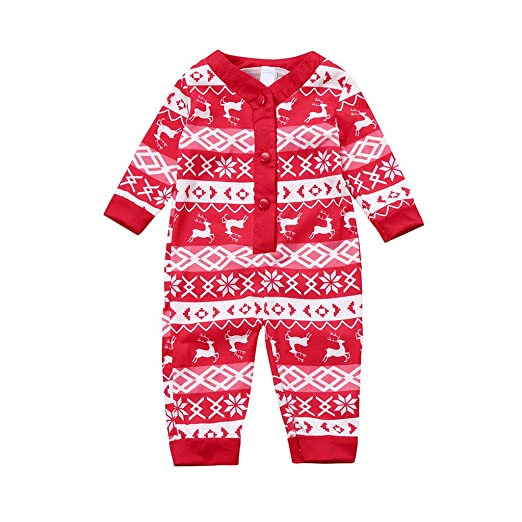 kid toddler baby christmas outfit deer pajamas romper clothes infant boy girl suits red