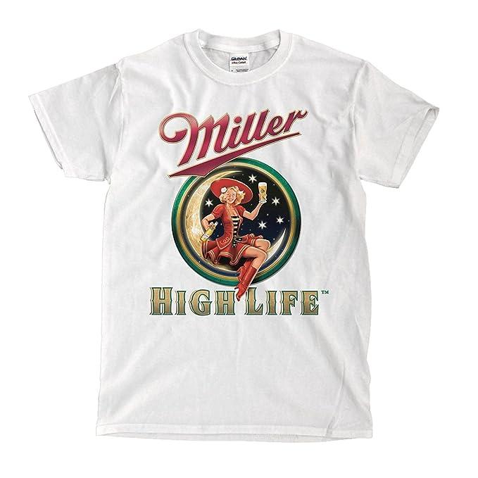 b3bac222b9f32a Amazon.com  Miller High Life beer White T-Shirt  Clothing