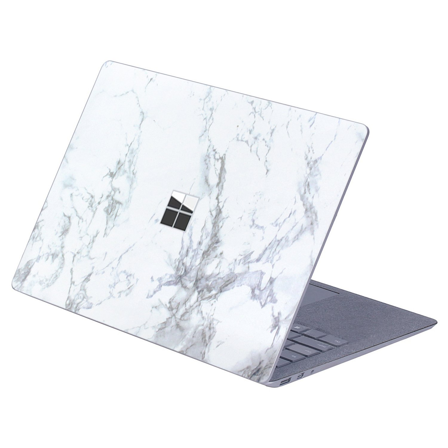 Masino Protective Decal Sticker Protector Cover Skin for 13.5 inch Microsoft Surface Laptop (For Surface Laptop, Decal - Marble White with Black)