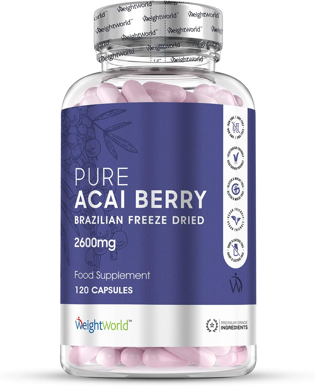 Acai Berry Cápsulas Dosis Alta 2600mg 120 Cápsulas - Suplemento Para Adelgazar, Potente Diurético Antioxidante, Mejora Sistema Inmunólogico, Fuente de ...