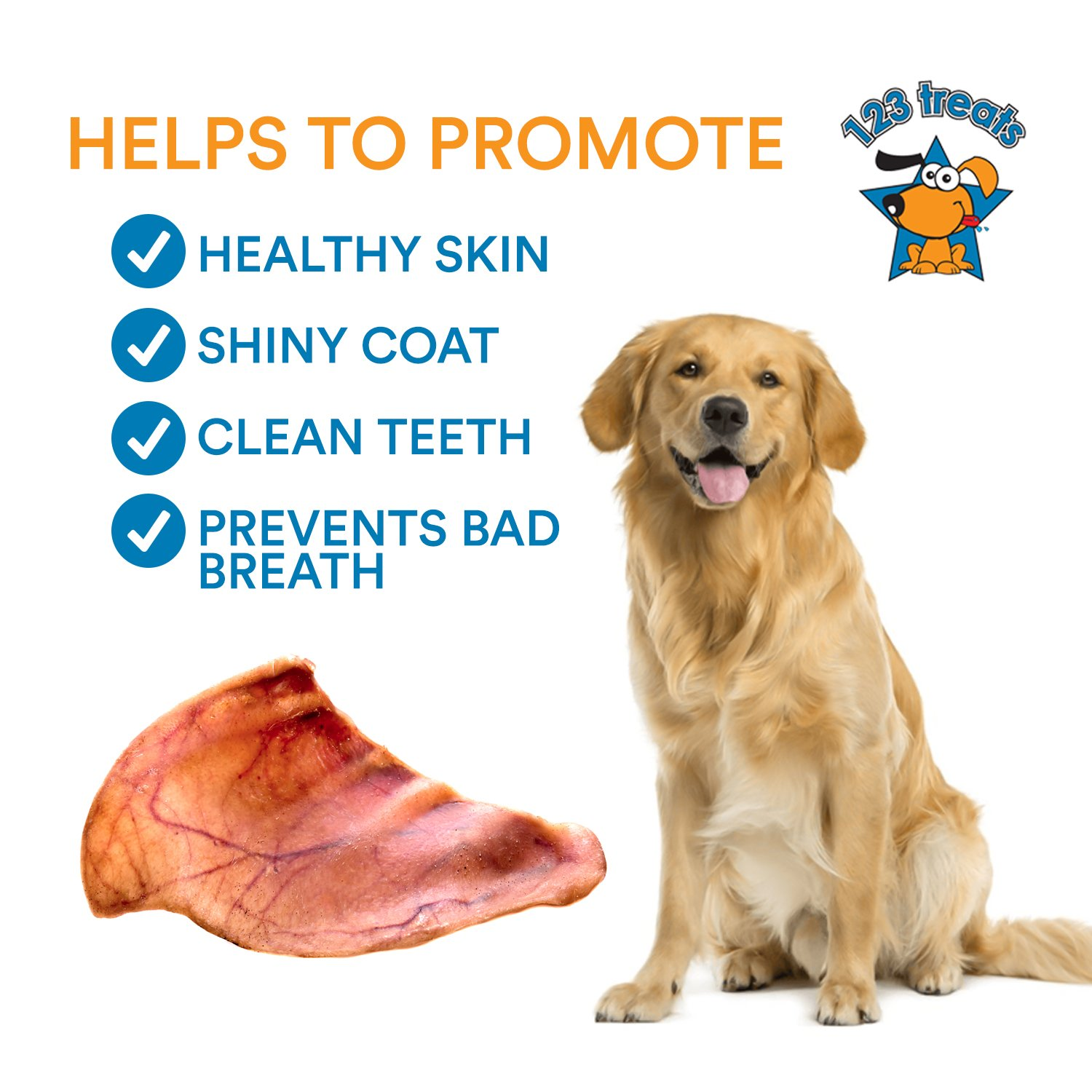 123 Treats Pig Ears for Dogs   Quality Pork Dog Chews 100% Natural Pork Ears Full of Protein for Your Pet (Brazil, 30 Count) by 123 Treats (Image #5)