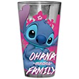 Silver Buffalo Lilo and Stitch Ohana Means Family Pint Glass with Gift Box, 16-Ounce, blue and pink